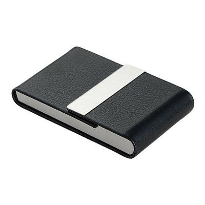 Men Women's Large Capacity Busine Card Wallet PU Leather Stainless Steel