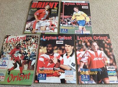 5 Home Leyton Orient Programmes 1995-7 All Listed