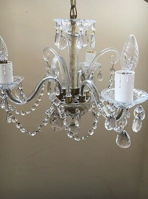 Vintage MARIE THERESE Style 3 Arm Glass Crystal Chandelier - Made in Slovakia