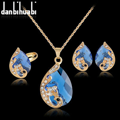 Wedding Rhinestone KC Gold Necklace Earrings Ring Jewelry Sets Accessories