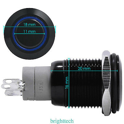Black case 16mm 12V Blue power Symbol LED Latching on/off Push Button switch