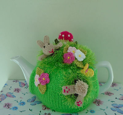 Hand Knitted Woodland Rabbits Tea Cosy For A Medium Teapot Crochet Flowers