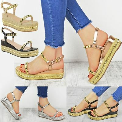 332a51a0b257 Ladies Womens Studded Low Wedge Espadrille Sandals Platform Rose Gold Shoes  Size