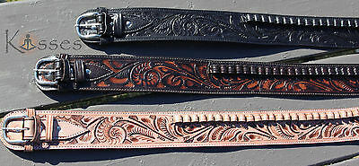 NEW Handmade Western Tooled Leather 44/45 cal Cartridge Belt RIG Gun Ammo 34-52""