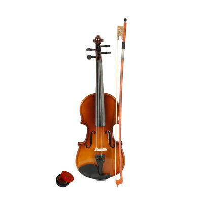 New 1/8 Size Natural Color Acoustic Violin Fiddle with Case Rosin Bow