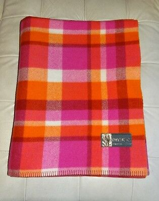 Vintage 'Physician' Orange Pink & Red Check Pure Wool Blanket 202x248cm