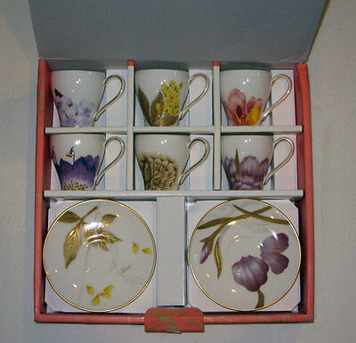 Royal Copenhagen FLORA CUPS and SAUCERS  (Set of 6)    NEW / BOX