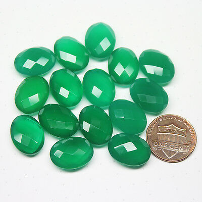 Green Onyx Faceted Checker Oval Loose Gemstone Undrilled Lot 15pc 16x12mm