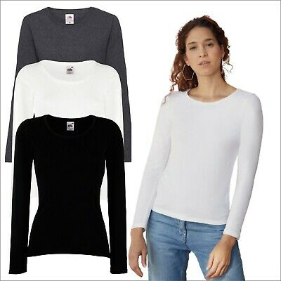 Fruit of the Loom Womens Valueweight Long Sleeves T-Shirt Casual Summer Soft Tee