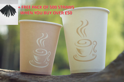Disposable PAPER CUPS Coffee Tea 8oz 12oz & SIP LIDS for Drinks Picnic Party