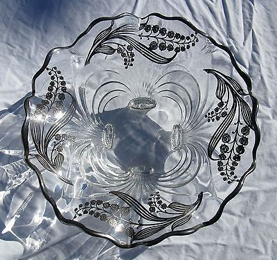 Sterling Silver Overlay Cambridge Glass Lily of the Valley Werkstatte Styling