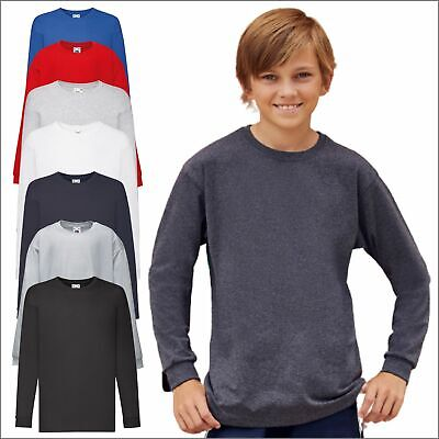 Children's Kids Boys Long Full Sleeve Valueweight T T-Shirt Plain Tee Shirt TOP