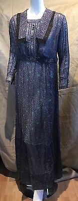 "Original 1910-20 Cotton Print Voile Dress Titanic Downton Abbey Bust 38"" W 30"""