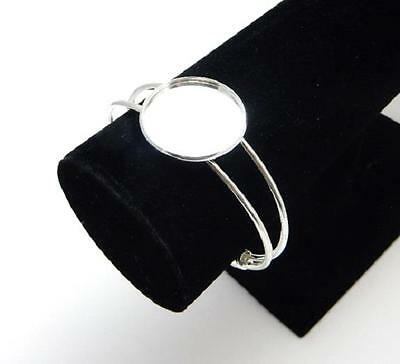 Silver plated bangle blank setting 25 mm round standard bezel resin or cabochon