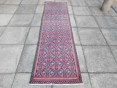 Old Traditional Hand Made Persian Rug Oriental Blue Wool Long Runner 280x75cm