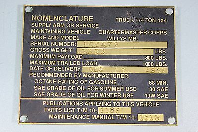 US WW2 Willys MB Ford GPW Dec 17 1941 Data Plate Repro Military Jeep J13