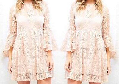 Ladies Size 6 Lace Dress Bell Sleeve With Slip