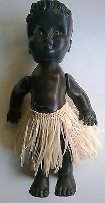 Vintage doll - 23cm - interesting eyes - grass skirt