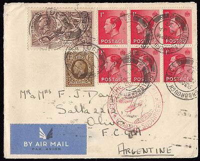 SG450 1937 2/ 6d Re-engraved on Zeppelin cover, Loughborough to Argentina 320605