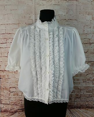 Vintage M White Short Sleeve High Neck Lace Ruffled Blouse Steampunk Victorian
