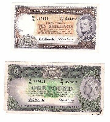 1 X COA 10 Shilling 1961 and 1 x COA 1 Pound 1961 Coombs & Wilson. Rare.