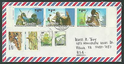 2004 Lesotho #1168 Coronation strip + #1032-1033-1153-1154 Air Cover to U.S.