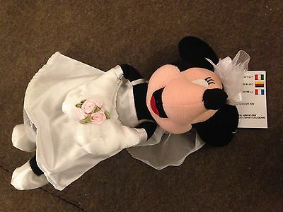 Disney UK Minnie Mouse Bean Bag Beanie Wedding collection 1993 Mint with tag