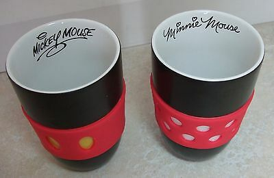 Disney Minnie and Mickey mugs with no handles - black and red