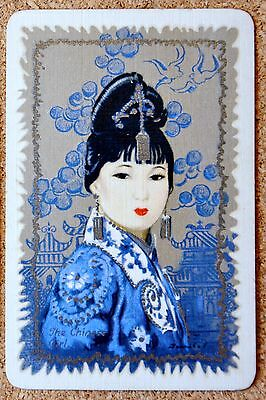 Lady -The Chinese Girl -Barribal- Single Vintage Linen Swap Playing Card