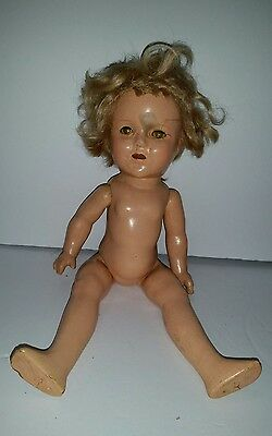 """Vintage Original Ideal Composition SIGNED SHIRLEY TEMPLE Doll 13"""" as found"""
