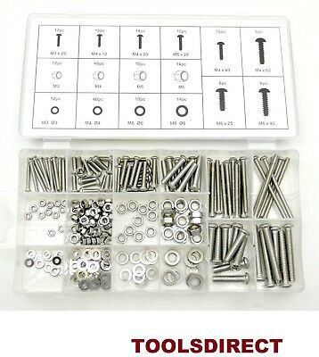 246pc Stainless Steel grade 201 Nuts And Bolts Washers M3 - M4 - M5 -M6 HW037