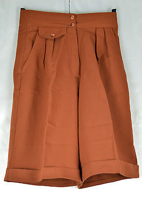 Vintage 1970's Rust Colour High Waist Shorts - Elasticated Back Size S (6/8)