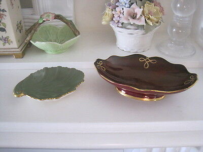 Carlton Ware Rouge Royal Pedestal Bonbon Dish And Green Shell Shaped Dish