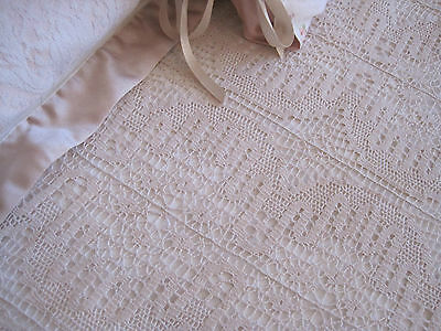 Divine Vintage Cream Needlelace Db Bedspread Or Bed Topper