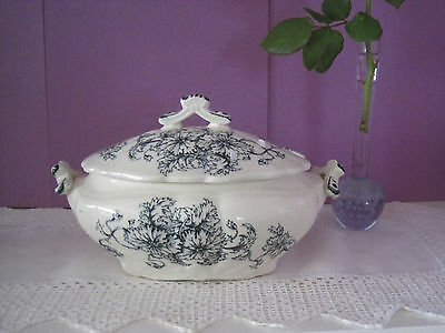 Antique Old Hall China Blue & White Floral Ironstone Sauce Tureen