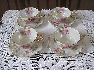 Four Beautiful Vintage Pink Roses & Gilt Pierced Lustre Cups And Saucers