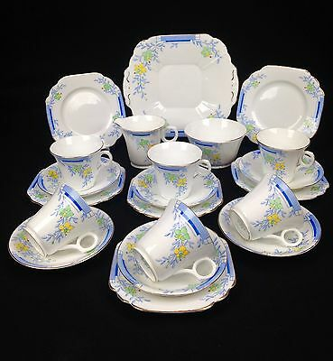 Vintage Melba Bone China Tea Set 1948 / Blue Floral / Afternoon Tea / 21 Piece