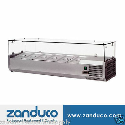 """Omcan 39594 59"""" Commercial Refrigerated 6 Pan Topping Rail RS-CN-0006-P"""