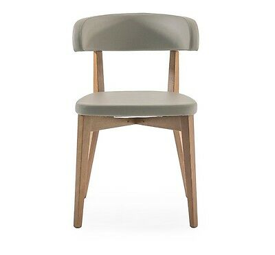 Siren Walnut Taupe Wooden & Faux Leather Dining Chair Oak Legs & Made in Italy
