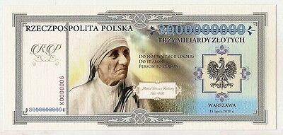 """POLAND 3 000 000 000 ZLOTYCH  Project collector note """"Mother Teresa of Calcutta"""""""