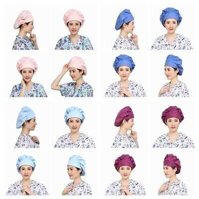 Women's Doctor Nurse Solid Scrub Cap Mask Medical Surgical Surgery Hat