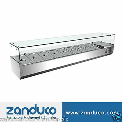 """Omcan 39595 79"""" Commercial Refrigerated 9 Pan Topping Rail RS-CN-0009-P"""