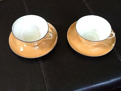 VINTAGE ANTIQUE PEACH IRIDESCENT LUSTERWARE CUP AND SAUCER 2 sets CZECH