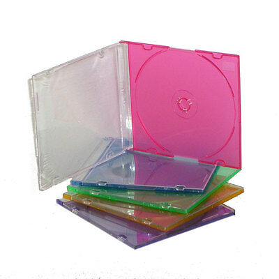 Custodia In Plastica Rigida Colorata Trasparente Per Cd Crystal Slim Pacco 10050
