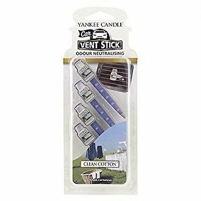 """Yankee Candle """"Clean Cotton"""" Vent Sticks, White, Pack of 4"""