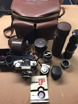 Vintage Nikon F Camera, Leather Bag, 3 Lenses, Tele-more, Expo. Meter, All Works