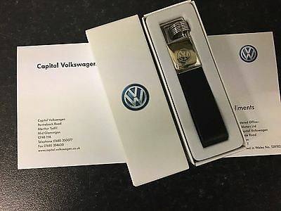Genuine Volkswagen Metal/leather Key Ring (000087011E)