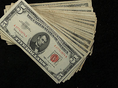 Lot of 40 ($200 Face Value) 1963 U.S. $5 Red Seal United States Notes