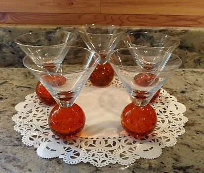 Set Of 5 E. Cointreau Stemless Amber Orange Bubble Ball Martini Glasses