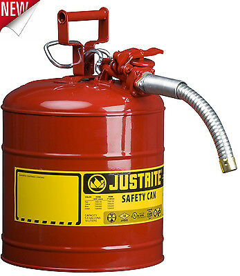 5 Gallon Fuel Safety Can Type II Galvanized Steel Flexible Hose Gas Oil Gasoline